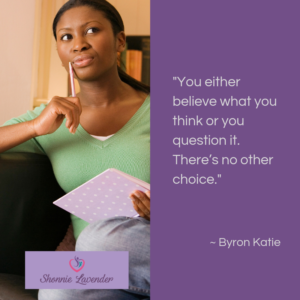 image with byron katie quote about beliefs